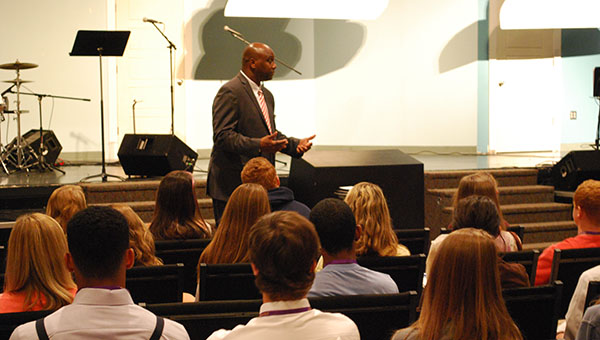 Dr. Lewis Brooks addresses high school students at the Shelby County Student Leadership Conference held at Valleydale Church (Reporter Photo/Graham Brooks).
