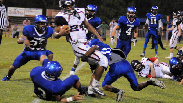 Members of the Kingwood Christian School's defense pursue a Bessemer Academy running back in a Sept. 4 matchup. (Contributed/Diane Cunningham)