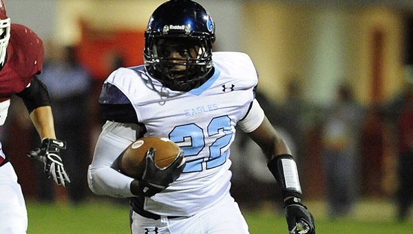 Calera running back ShaKeith Tyes finished a Sept. 19 matchup with Jemison with five total touchdowns, which included a kickoff return, a receiving score, and three rushing scores. (FILE)