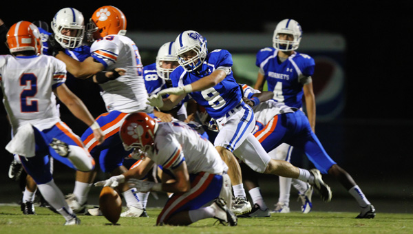Chelsea's Tyler Blackburn races to block a Chilton County field goal in a 42-7 win on Sept. 19. (Contributed/Cari Dean)