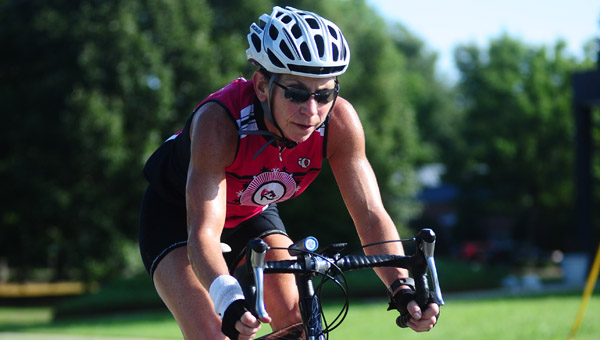 Shelby County Arts Council founder and director Terri Sullivan looks to set a state time trial record for travelling across Alabama on Sept. 28. (Reporter Photo/Jon Goering)
