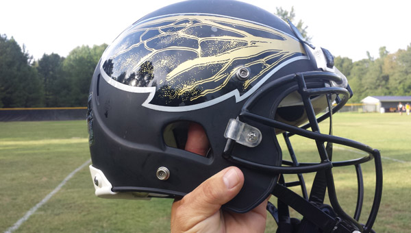 The Vincent Youth Football Association recently received a donation allowing the association to purchase new helmets, like this one, for its players. (Contributed)