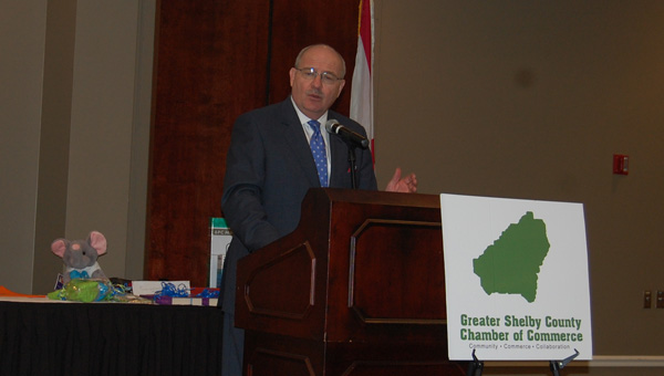 State Health Officer Dr. Donald Williamson spoke about the impact of unhealthy lifestyles on Alabama during a Sept. 24 Greater Shelby County Chamber of Commerce luncheon. (Reporter Photo / Molly Davidson)