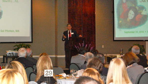 Sol Pitchon, the sone of two holocaust survivors, spoke at the annual Sav-A-Life Shelby banquet on Sept. 23. (Reporter Photo / Molly Davidson)