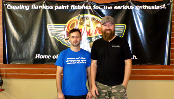 From left, Vince Davis and Chase Tubbs of Insane Paint Auto Detailing in Pelham. (Reporter Photo / Molly Davidson)