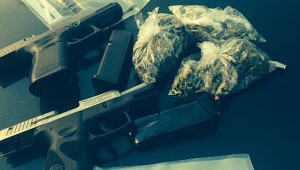 The Alabaster Police Department and the Shelby County Drug Enforcement Task Force confiscated marijuana and a pair of guns during a Sept. 18 drug bust. (Contributed)