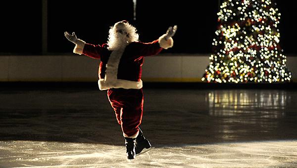 Santa skates during last year's Christmas tree lighting ceremony. (File)