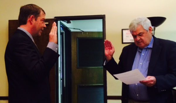 Jason Peterson, Montevallo's newest city council member, took the oath of office—issued by Judge Bruce Green of the Montevallo municipal court—during a ceremony at city hall on Sept. 3.