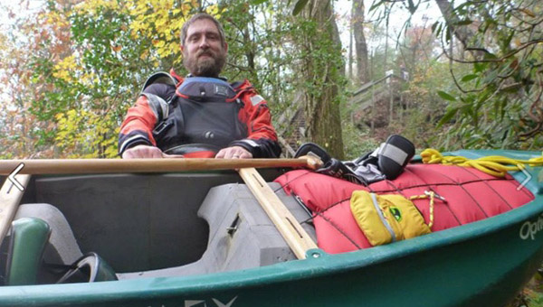 Ray Knorr of Chelsea prepares to hit the water in his tandem canoe. (Contributed/Joe Antonio)