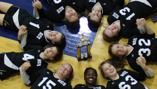 The Kingwood Christian School junior varisty volleyball team won the AISA JV state championship on Oct. 11. The team went undefeated through the season. (Contributed/Tony Boyd)