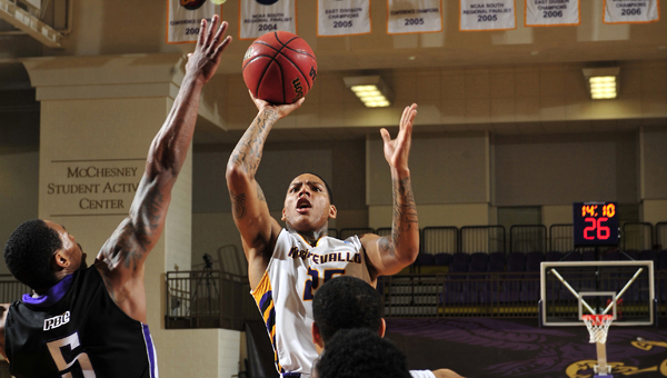 """The University of Montevallo's men's basketball team will be returning four starters off last year's Sweet 16 team, including All-American and Peach Belt Conference Player of the Year Troran Brown. This year, the Falcons are ranked fourth in the preseason Division II Bulletin poll, and Brown is one of two players in the southeast region selected to the """"Super 16."""" (Contributed/University of Montevallo)"""