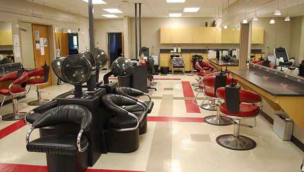 The SCCCC Cosmetology classroom has the look and feel of a real salon to prepare students for the future. (Reporter Photo/Graham Brooks)