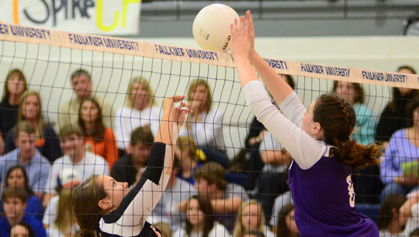 Cornerstone's Lindsey Greer looks to return a volley in the AISA Final Four on Oct. 23. (Reporter Photo/Drew Granthum)