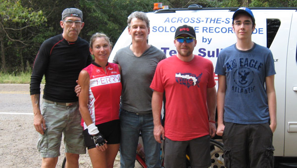 Terri Sullivan with her crew as she readies for her cross-state ride. (Contributed)