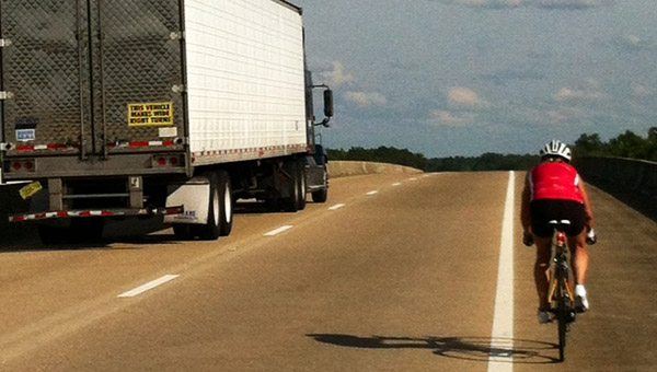 Could you imagine riding a boke this close to an 18-wheeler? Me neither. But Terri Sullivan did it. (Contributed)