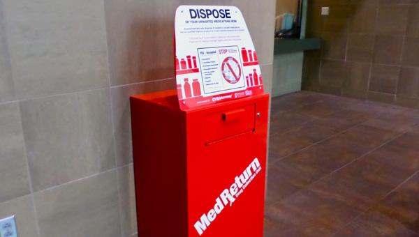 The Pelham Police Department installed a permanent drop box for expired and perscription medications. (Reporter Photo / Molly Davidson)