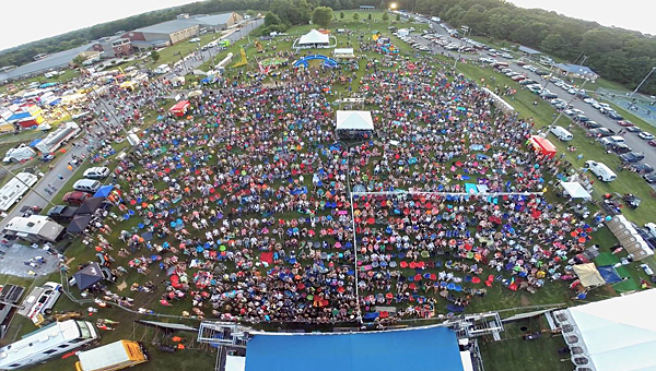 Kevin Henderson's drone captures the crowd at the 2014 Alabaster CityFest before the event's headlining musical performances. (Contributed)