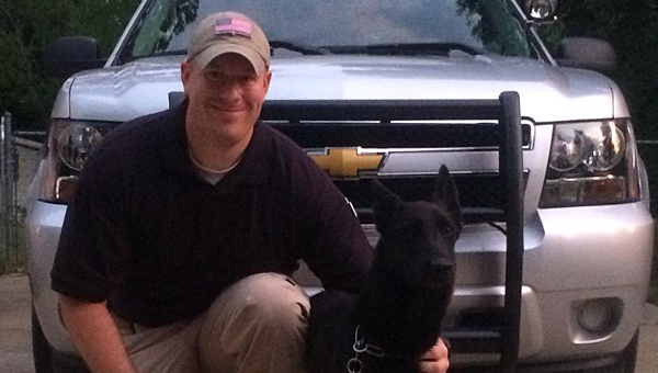 New Alabaster Police Department K-9 officer Micco with his handler, officer Hunter Hammonds. (Contributed)