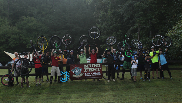 Unicyclists gathered at Oak Mountain State Park for the second annual STOMP MUni Fest over Columbus Day weekend. (Contributed)
