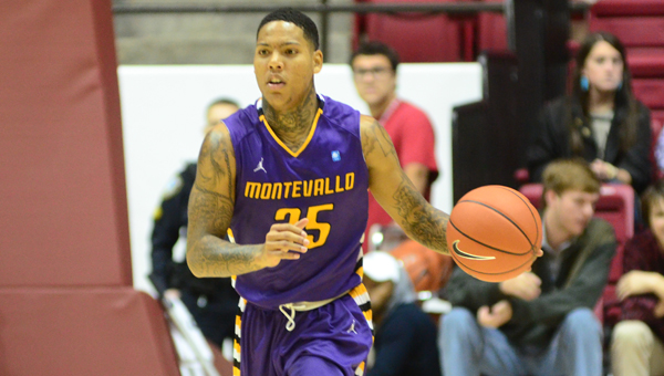 Montevallo senior Troran Brown paced all players with 24 points, five assists and four steals in an exhibition contest against Alabama on Nov. 10. (Reporter Photo/Drew Granthum)