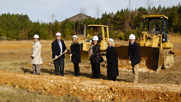 A groundbreaking ceremony held at the future site of Swagelok Alabama on Nov. 18 signified the start of the new facility's construction. Pictured (from left to right) are Dave Halperin, Thomas Lozick, Kay Lozick, Vanessa Carmack, Lynne Aldridge and Brent Pritchard, all with Swagelok.