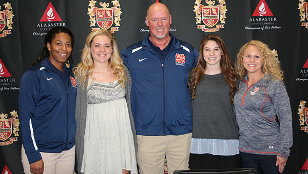 From left, Wallace State assistant coach Jamiee Feeman, THS senior Tara Miller, Wallace State head coach Daniel Randy, THS senior August Newberry and Wallace State assistant coach Aleah Scott during a Nov. 12 signing ceremony at THS. (Contributed)