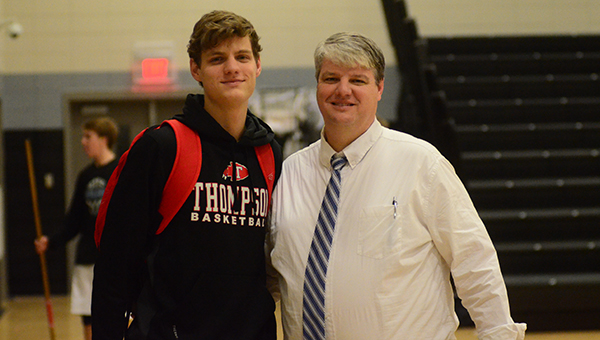 William Laatsch and his father Chris Laatsch met on the basketball court where they talked about the experience of playing against each other for the first time. (Reporter Photo/Graham Brooks)