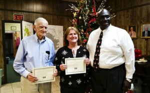 William Rayfield and Della Pender, nominees for the South Shelby Chamber of Commerce Diamond Awards, are pictured with Harpersville Mayor Theoangelo Perkins. (Reporter Photo/Emily Sparacino)