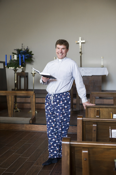 Christ the King Lutheran Church Senior Pastor Chris DeGreen will deliver a traditional Christmas sermon, in his clerical pastor's collar and pajama pants, at the church's 25th Christmas morning pajama service on Dec. 25. (Contributed Photo/Kelli + Daniel Taylor Photography)