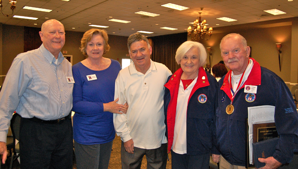 Bob and Nancy Barefield, Charlie Varano Rachel Clinkscale and Glenn Niven at the Shelby County RSVP Volunteer Recognition Brunch and Award Ceremony on Dec. 4. (Reporter Photo / Molly Davidson)