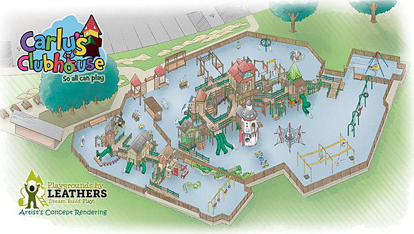 The Leathers and Associates firm recently completed a 3D rendering of the Carly's Clubhouse playground, revealing a zipline, rocket ship and more. (Contributed)