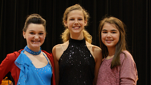 Thompson Middle School talent show winners, from left, Blakely C. (First place), Maggie K. (Third place) and Shannan S. (Second place). (Contributed/Ginny McCarley)