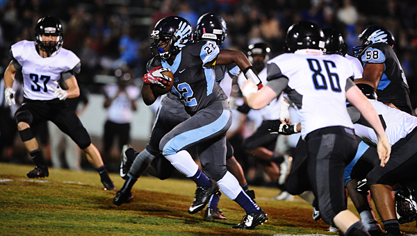 Calera running back Shakeith Tyes set a school record for rushing yards in a single contest with 353 in an Oct. 10 matchup with Helena. (Reporter Photo/Drew Granthum)