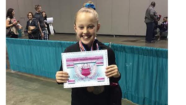 Maddie Hastings took fourth place in the all-around at the state meet in Mobile from Dec. 5-7. (Contributed)