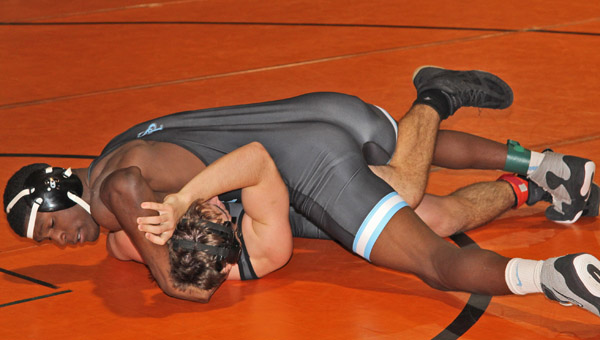 Leon Strong executes a pin on his way to a fourth place finish at the Scott Rohrer Invitational. (Contributed)