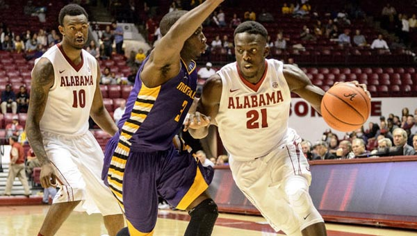 Monetvallo's Skykeem Jackson, shown here in action against Alabama, helped lead the Jaguars to a victory over Clayton State. (Contributed)