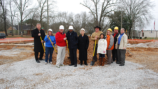 Columbiana city officals and members of the Shelby County commission gathered for the groundbreaking of the new senior center on Wednesday, Jan. 14. (Reporter Photo/Graham Brooks)