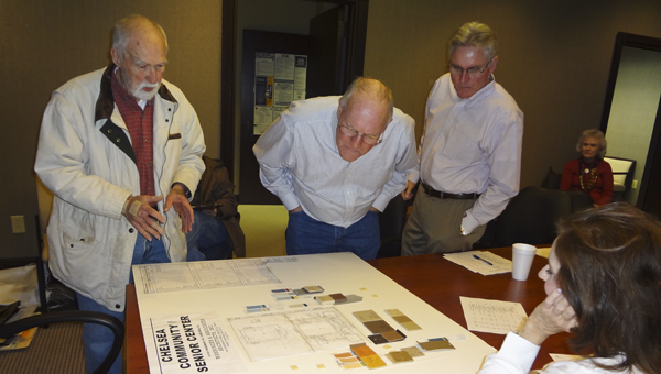 Architect Bob Wanninger (far left) shows tile and paint color samples for the Chelsea Community Center to city council members Jan. 20. (Reporter Photo/Emily Sparacino)