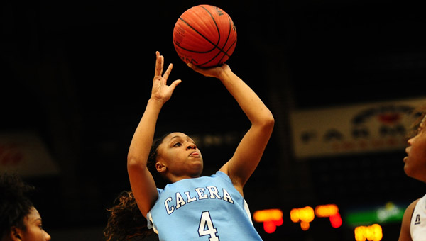Tyesha Haynes was held to just eight points in Calera's 48-37 loss at Shelby County on Jan. 27. (Contributed/Jon Goering)