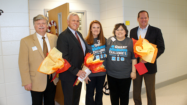 Helena Mayor Mark Hall, Shelby County Schools Superintendent Randy Fuller and State Sen. Cam Ward visited HIS on Monday, Jan. 26 in honor of Gifted Education Month. (Contributed)