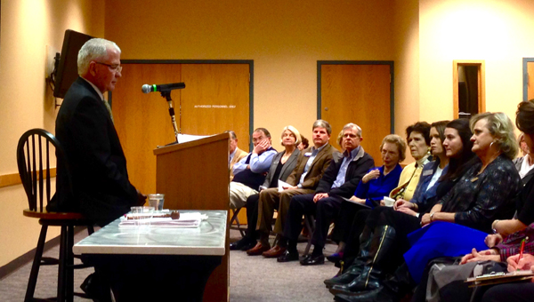 """Hoover Mayor Gary Ivey addressed residents, giving his """"State of the City"""" address on Jan. 5 at the Hoover Library. (Reporter Photo / Molly Davidson)"""