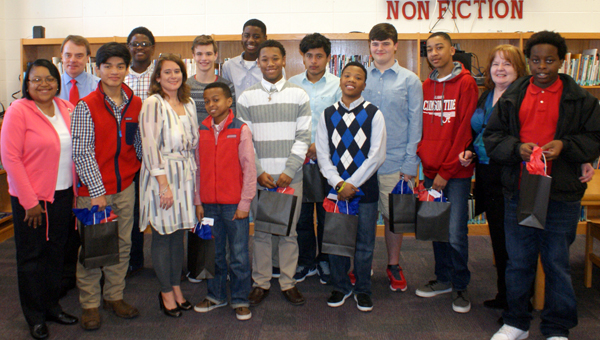 Eleven Oak Mountain Middle School students were honored for their reading achievement during  Jan. 21 ceremony. (Contributed)