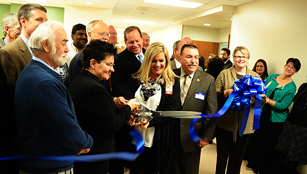 Shelby Baptist employees and county officials celebrate the opening of the hospital's new psychiatric unit on Jan. 9. (Reporter Photo/Neal Wagner)