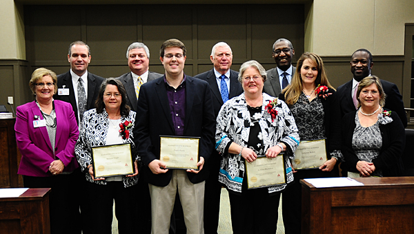 Alabaster Board of Education members honor the city's Teachers of the Year during a Jan. 12 meeting at Alabaster City Hall. (Reporter Photo/Neal Wagner)