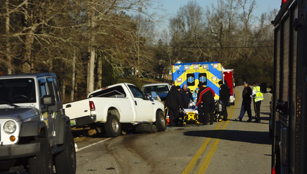 Several people were injured in a three-vehicle wreck that occurred just before 8 a.m. on Shelby County 47 between Shelby County 69 and Shelby County 446 on Tuesday. (Reporter Photo/Emily Sparacino)
