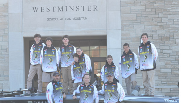 Westminster School at Oak Mountain fishing club poses in front of the school in their uniforms. The club is in their first year of competition. (Reporter Photo / Baker Ellis)