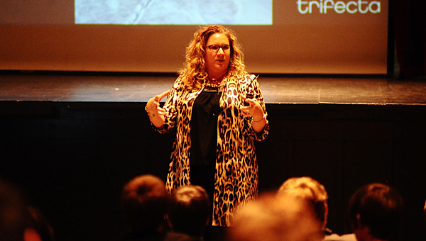 """Dr. Jennifer Languell, the star of the Discovery Channel show """"Project Earth,"""" speaks to a group of Thompson Middle School students at the school on Jan. 30. (Reporter Photo/Neal Wagner)"""