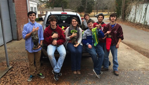 Shelby County High School students helped fill stockings for families in need through the Santa Buddies program during the holidays. (Contributed)