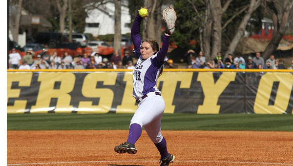 Jostlyn Higgerson went 2-0 on the weekend against West Alabama to give the softball program its' first ever victories. (Contributed)
