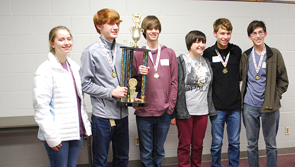 Students on the Oak Mountain High School Varisty Scholars' Bowl team finished first place at the Shelby County Scholars' Bowl competition. (Reporter Photo/Graham Brooks)